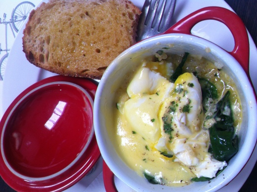 Delicious brunch from The Eatery... quinoa, spinach, poached egg and hollandaise